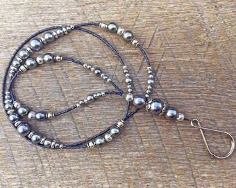 Beaded ID badge lanyard - Splendor - pearl gray and silver glass ID badge beaded lanyard necklace for office nurse teacher gift