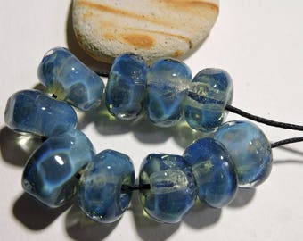 Handmade Lampwork Glass Borosilicate Beads BLUE ICE Two Sisters Designs 072617L
