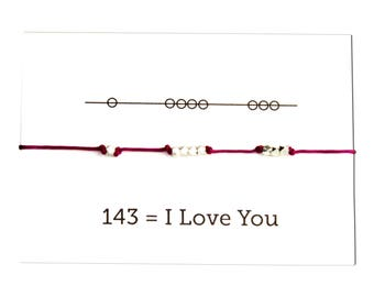 Knotted Cord Bracelet: I Love You 143, Valentine's Day, Plum