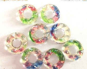 SALE 15% off VIntage glass cabs (6) round multicolor faceted donut hole deco  14mm flower cabs cabochons  (6)