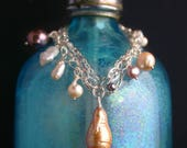 CLEARANCE 40% OFF Boho Silver Charm Bracelet with Rare Saltwater and Freshwater Pearls