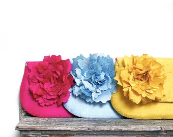 Summer Wedding Colorful Bridesmaids Clutches Silk Foldover Clutches Gift for Bridesmaids Fun Summer Cocktail Party Clutch Purse Hot Pink
