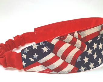 July 4th Headband, Reversible Headband, Elastic Headband, Red Headband, White Headband, Blue Headband, Flag Headband, Summer Outdoors
