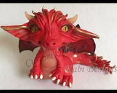 Reserved for Linda Wolter Custom order handmade Polymer Clay Red Dragon