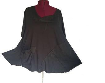 5X Asymmetric Color Block Tunic Shirt Top Eco Friendly Plus Recycled Fashion Black