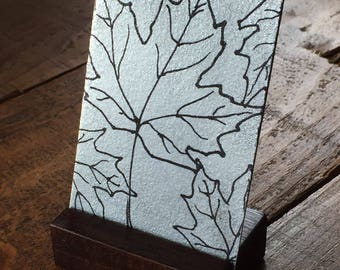 Maple Leaves small metal artwork ACEO, maple leaf silver print mini desk art card with base, maple leaf drawing on metal art card