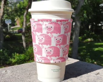 FREE SHIPPING UPGRADE with minimum -  Fabric coffee cozy / cup sleeve / coffee sleeve / teacher gift / Here Piggy Piggy