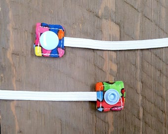 Organic Cotton Replacement Snap-On Elastic for Nebulizer Head Straps (Rainbow Puzzle)