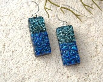 Green Blue Earrings, Dichroic Earrings, Dichroic Jewelry, Dangle Drop Earrings, Fused Glass, Sterling Earrings, ccvalenzo, 080817e102b