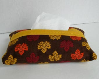 Leaf Pocket Tissue Holder - Fall Tissue Cover - Fabric Tissue Case - Fall Tissue Cozy -  Purse Tissue Cover
