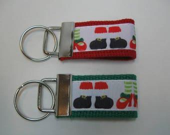 Santa Feet Mini Key Fob - Small Key Chain - Santa Claus Zipper Pull - Christmas Key Ring - Handmade Key Fob - Christmas Party Favor