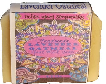 Lavender Oatmeal Goat Milk Soap, ready to ship,  handmade exfoliating soap, Lavender essential oil, sensitive skin soap, All Natural soap