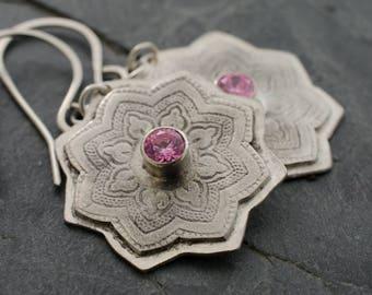 Star Silver Earrings. Sundar Star. Henna Style Earrings. Pink CZ Gemstone. Floral Earring. Gemstone Silver Earrings.