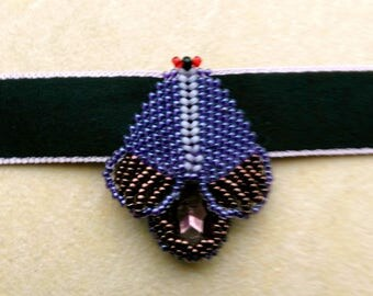 Beadwoven Moth Choker Necklace . Bronze and Purple Insect Beadwork . Butterfly/ Moth Pendant - Black Silk Choker by enchantedbeads on Etsy