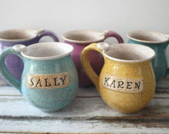 One Personalized Speckled Mug with a Name,  Made to Order