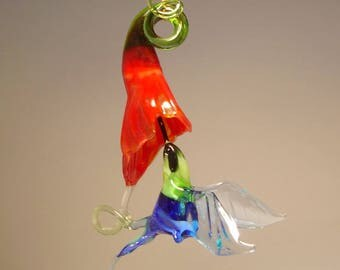 Blown Glass Figurine Bird Hanging Blue HUMMINGBIRD and Red Flower Ornament