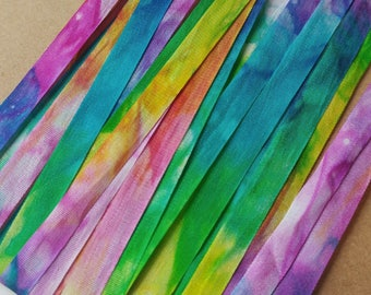 """Silk Ribbon, Hand Dyed Watercolour : Heart of the Rainbow (woven, 100% silk, 7 mm/ 0.25"""" wide, 6 yards OR custom length)"""