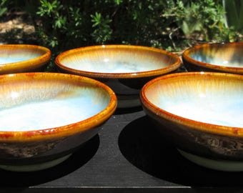 Set of 5 Cooking Prep Bowls in Turquoise Blue and Amber