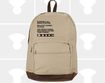 NEW Backpack. Film v Bullet Canvas Backpack with Leather Accents. Rucksack. Travel Bag. Men Backpack Women Backpack. FREE Shipping