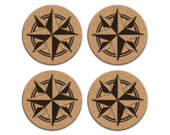 COMPASS ROSE Nautical Coastal Cork Coaster Set Of 4 Home Decor Barware Decoration