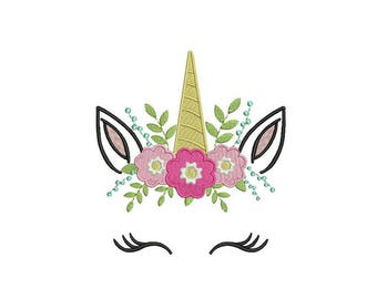 Machine Embroidery Unicorn Face Flowers Machine Embroidery File design 5x7 inch hoop