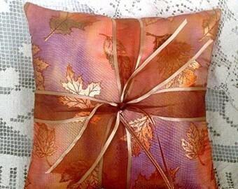 On Sale Glittering Fall Leaves Wedding Ring Pillow•Copper•Orange• Wedding Ring Cushion•Autumn Wedding•