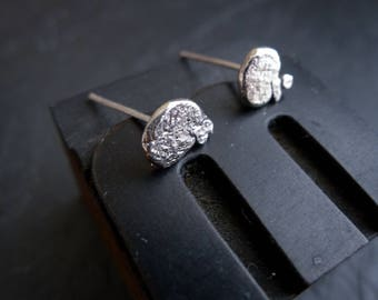Tiny Small Recycled Sterling Silver Nugget Post Stud Earrings