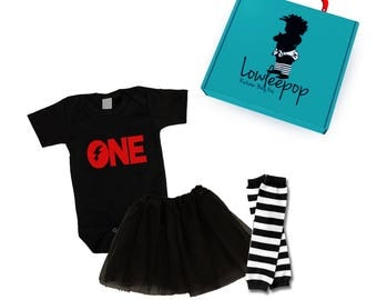 "ROCKSTAR BABY KIT ""One"" black onesie, tutu, striped leg warmers & optional gift box"