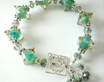 Aqua Lampwork Bracelet, Sea Green, Silver Bracelet, Bicone Lampwork Beads, Crystals, Dots, Beach, Beaded Jewelry, Beaded Bracelet, OOAK