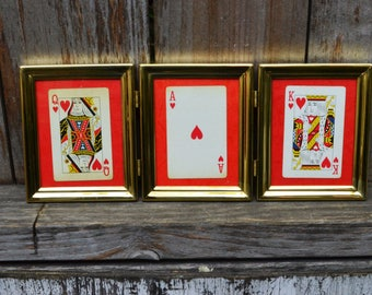 Ace, King, Queen - Vintage Playing Cards in Brass Frame