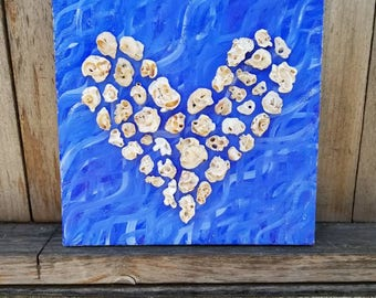 "Coral Heart on Acrylic - 12"" x 12"" Multimedia Art - FREE SHIPPING"