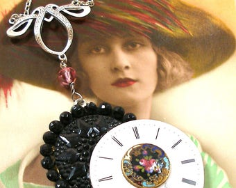 Star Time Antique BUTTON necklace, Edwardian enamel watch with black glass & enamel buttons. Unique button jewellery.