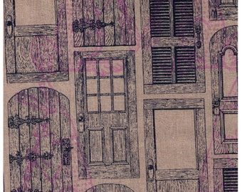 HALF YARD Kokka -Purple Rabbits and Navy Doors on Natural - 45/55 Cotton/Linen Blend - Japanese Import - 37900-901-C26