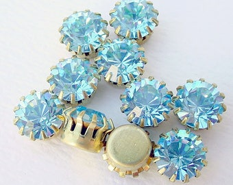 14 Swarovski Rhinestones Settings Findings in Brass Aqua Blue 40SS LAST ONE!