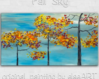Original painting mordern art large abstract Fall Season landscape painting ready to hang Gallery canvas by tim lam 48x24x1.4