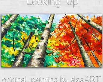Sale Original Painting Looking Up Forest art, huge mural oil painting Autumn Aspen Tree by Tim Lam 48x24x1.5
