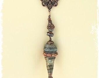 Gray Druzy Gemstone Necklace Pendant, Tribal Necklace, Druzy Agate Necklace, Elegant Boho Jewelry, Rustic Bohemian Jewelry,