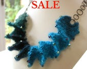 S A L E - Yarn Spiral Necklace Knitting Kit - Peacock