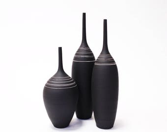 Ships Now- set of 3 black stoneware bottles with White stripes by sarapaloma