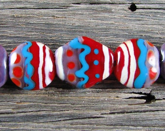 Dreamy Painted Style...7 Handmade Lampwork Red Turquoise Lentil Glass Bead Set With Focal Sra