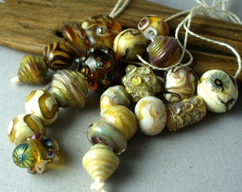 lampwork beads/sra lampwork/beads/glass beads/ organic/earthy/designer set/ ivory, Double Helix/gold/