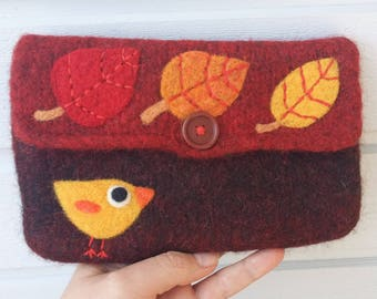 Felted bag pouch purse bag hand knit needle felted burgundy red orange wool bird birdie leaf
