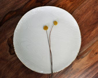 Gold Rim Faux Bois Ceramic Platter - Serving Platter Wood grain Ceramic Platter Pottery Platter  Wedding Gift Housewarming Gift