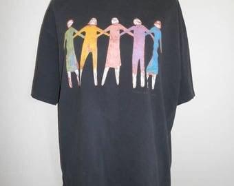 Closing shop SALE 40% off Vintage 90s   black  tee t shirt  Fine Friends    art
