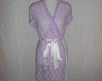 Hand dyed lace robe  nightie sheer