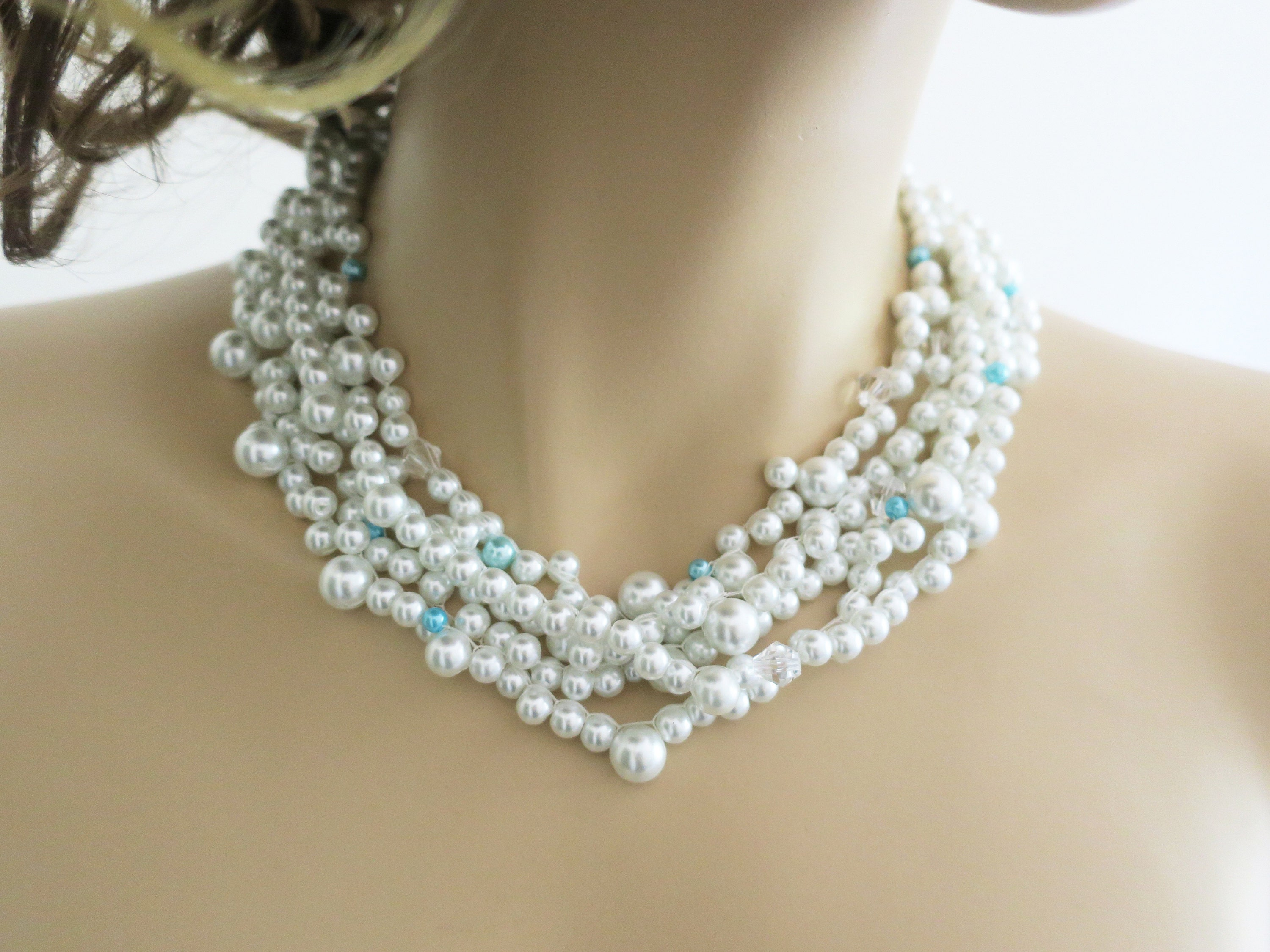 White pearl necklace, something blue wedding jewelry, bridal statement necklace