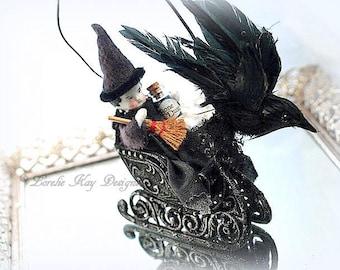 As The Crow Flies Victorian Inspired Spun Cotton Witch In Sleigh Halloween Black Raven Decoration Lorelie Kay Original