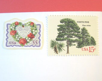 Woodland Rustic Wedding Postage, Love in the Woods, Red Roses Heart Lace - Tree Stamps, Mail 20 Invitations 2 oz 70 cents unused, outdoors
