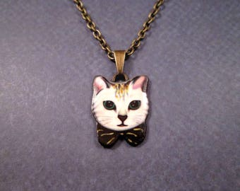 CAT Necklace, Pretty Kitty, Enamel Pendant Necklace, Brass Chain Necklace, FREE Shipping U.S.