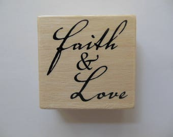 Sentiment Faith and Love Stamp - Christmas Sentiments Collection - Wood Mounted Rubber Stamp - Valentines Day Stamp